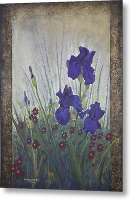 Metal Print featuring the painting Purple Iris by Rob Corsetti