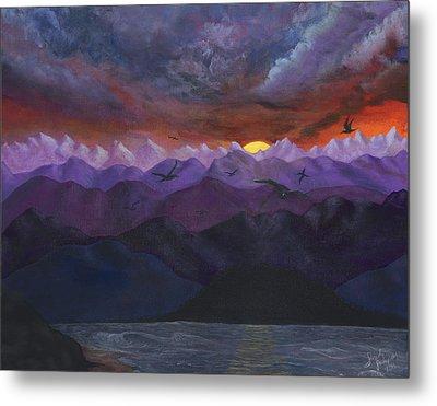 Purple Mountain Sunset Metal Print by Sandy Jasper