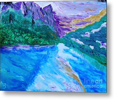 Purple Mountins With A Touch Of Gold Metal Print by Marie Bulger
