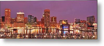 Purple Night In Baltimore Metal Print by Wayne King