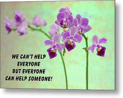 Purple Orchid Quote-1 Metal Print by Rudy Umans