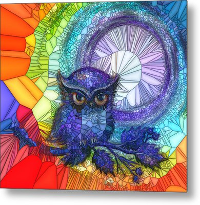 Metal Print featuring the painting Owl Meditate by Agata Lindquist
