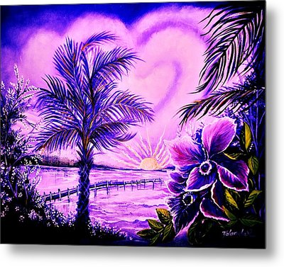 Purple Palm Metal Print by Yolanda Rodriguez