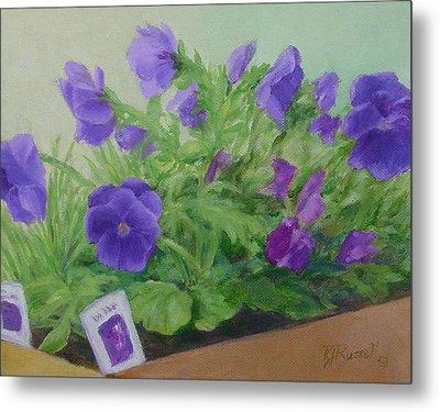 Purple Pansies Colorful Original Oil Painting Flower Garden Art  Metal Print by Elizabeth Sawyer