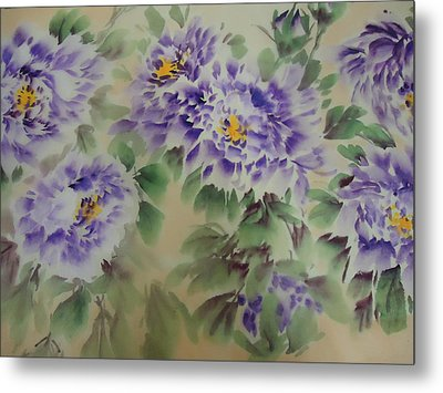 Metal Print featuring the painting Purple Peony 012 by Dongling Sun