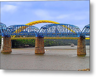 Purple People Bridge And Big Mac Bridge - Ohio River Cincinnati Metal Print by Christine Till