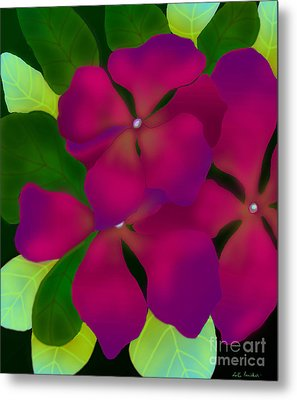Purple Periwinkles Metal Print by Latha Gokuldas Panicker