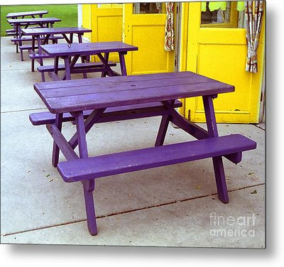 Purple Picnic Tables Yellow Doors Metal Print