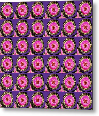 Purple Pink Flower Pattern Decoration Background Designs  And Color Tones N Color Shades Available F Metal Print by Navin Joshi