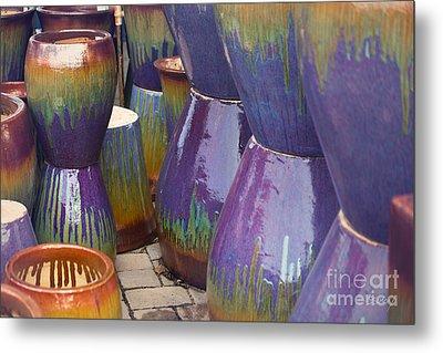 Purple Pots Metal Print by Sally Simon