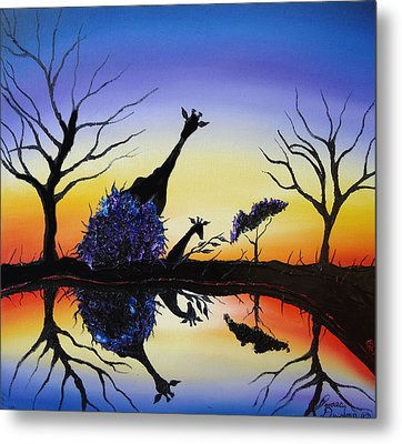 Purple Reflection Of Serengeti Metal Print by Portland Art Creations