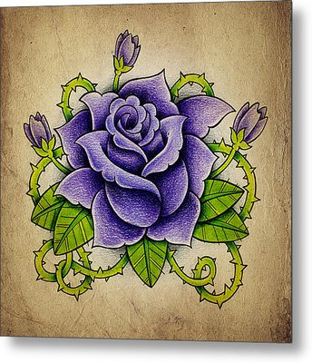 Purple Rose Metal Print by Samuel Whitton