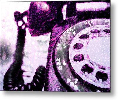 Purple Rotary Phone Metal Print by Jon Woodhams