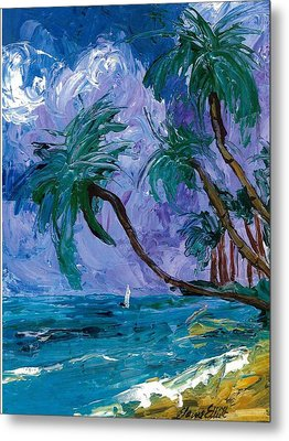 Purple Sky Palms Metal Print by Elaine Elliott