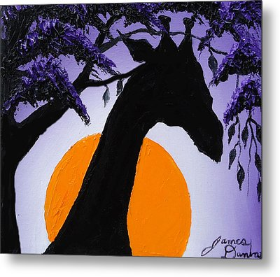 Purple Sun Giraffe Metal Print by Portland Art Creations