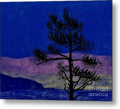 Metal Print featuring the drawing Purple Sunset Bay by D Hackett