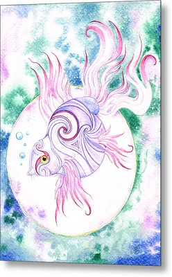 Purple Swirled Fairy Fish Metal Print