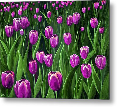 Purple Tulip Field Metal Print by Anastasiya Malakhova