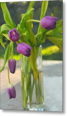 Metal Print featuring the photograph Purple Tulips by Kenny Francis