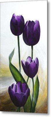 Purple Tulips Metal Print by Teresa Wadman