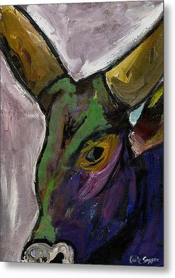Purple Ugandan Cow Metal Print