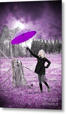 Purple Umbrella Metal Print