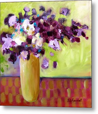 Purple White Flowers In Vase Metal Print by Donna Randall