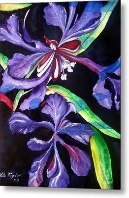 Metal Print featuring the painting Purple Wildflowers by Lil Taylor