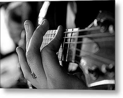 Pushing Frets Metal Print