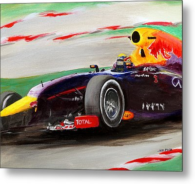 Metal Print featuring the painting Pushing Hard by Chris Fraser