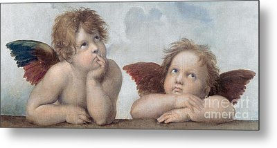 Putti Detail From The Sistine Madonna Metal Print by Raphael