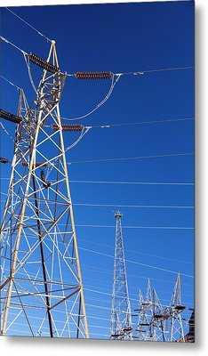 Pylons Taking Hydro Electricity Metal Print by Ashley Cooper
