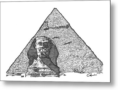 Pyramid And Sphinx Metal Print