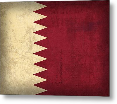 Qatar Flag Vintage Distressed Finish Metal Print