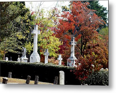Metal Print featuring the photograph Quad Crosses In Fall by Lesa Fine