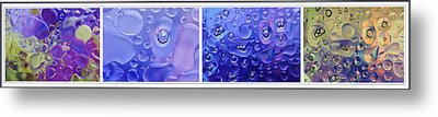Metal Print featuring the photograph Quadryptich Of Colorful Water Bubbles by Peter v Quenter