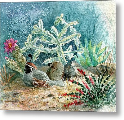 Quail At Rest Metal Print by Marilyn Smith