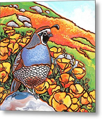 Quail Poppies Metal Print