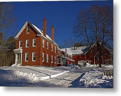 Quaint Maine Winter Farm Metal Print by Catherine Melvin
