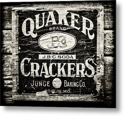 Quaker Crackers Rustic Sign For Kitchen In Black And White Metal Print by Lisa Russo