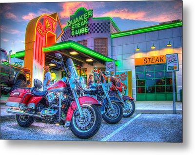 Quaker Steak And Lube Bike Night Metal Print by Zane Kuhle