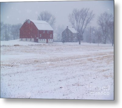 Quakertown Farm On Snowy Day Metal Print by Anna Lisa Yoder