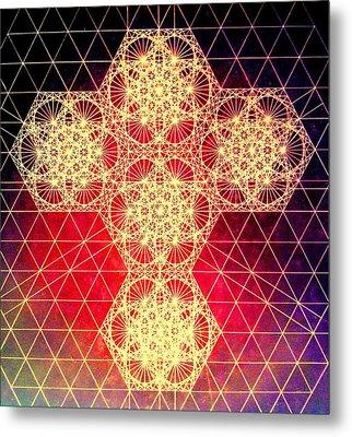 Quantum Cross Hand Drawn Metal Print by Jason Padgett