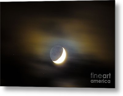 Metal Print featuring the photograph Quarter Moon by Judy Wolinsky