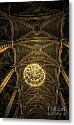 Quebec City Canada Ornate Grand Hall Or Church Ceiling Metal Print by Edward Fielding