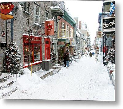 Quebec City In Winter Metal Print by Thomas R Fletcher