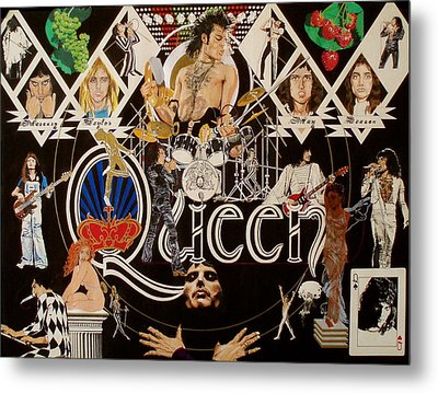 Queen - Black Queen White Queen Metal Print by Sean Connolly
