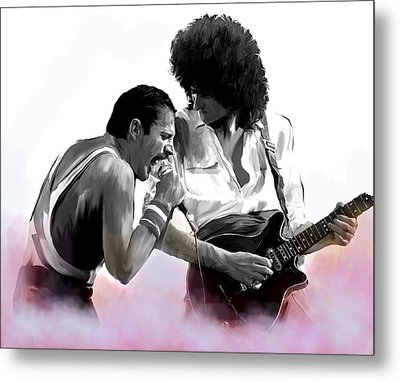 Queen II  Freddie Mercury And Brian May Metal Print by Iconic Images Art Gallery David Pucciarelli