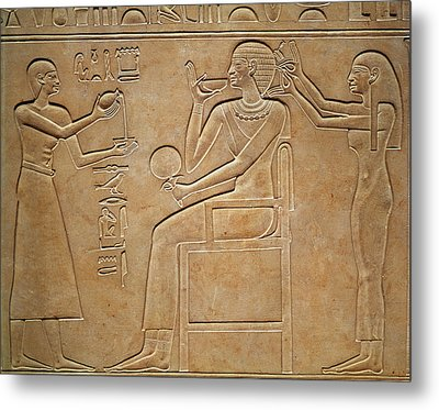 Queen Kawit At Her Toilet, From The Sarcophagus Of Queen Kawit Metal Print by Egyptian 11th Dynasty