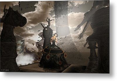 Queen Of Hearts - Love Is A Maelstrom Metal Print by Amanda Holmes Tzafrir